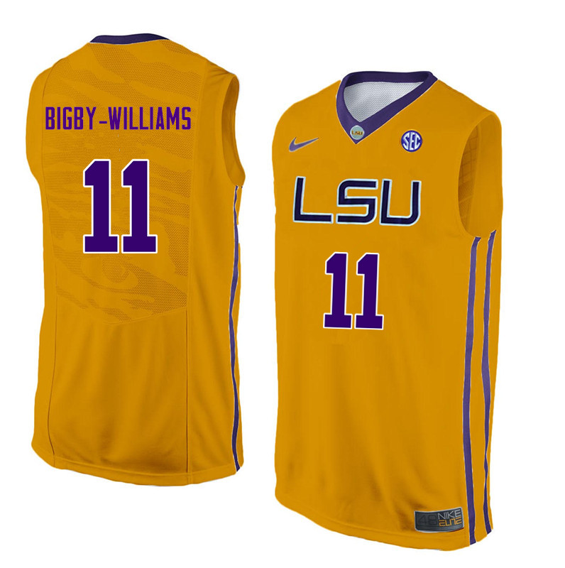 Men #11 Kavell Bigby-Williams LSU Tigers College Basketball Jerseys Sale-Yellow